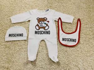 Ragazze dei neonati del progettista di marca del pagliaccetto cotone a maniche lunghe tuta + Hat + Bib 3pcs / set infantili vestiti pagliaccetto arrampicata