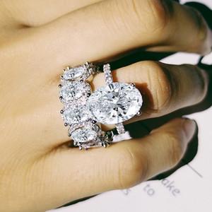 2 PCS Top Selling Casal Anéis De Luxo Jóias 925 Sterling Silver Oval Cut Topázio Branco CZ Diamante Eternidade Wome Nupcial Do Casamento Anel Set presente