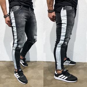 2020 New Arrival dos homens clássicos Jeans Hombre Homens Calças rasgado Striped Jeans Preto Side drapeado motociclista Jean Pencil Pants