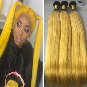 9A Yellow Ombre Human Hair Bundles Indian Peruana brasileña Recta de cabello humano 3 Bundles 1B Yellow Ombre Virgin Hair