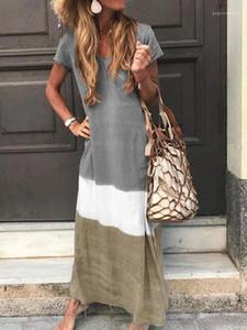 Robes Mode pour dames Vacances Plage Robe d'été Femme lambrissé robe bohème femmes V Long Neck