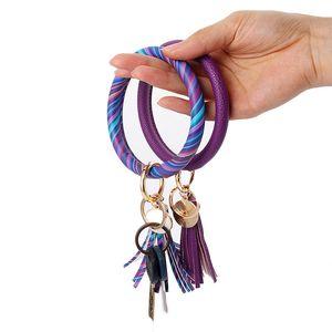 30 Farbe Leder-Armband Schlüsselanhänger PU Handgelenk Schlüsselanhänger Quaste Anhänger Armbänder Sport Bracelets runde Keychain Festival-Party-Bevorzugung