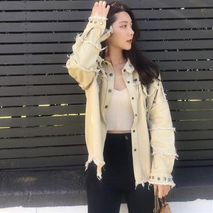 Fashion Korean Loose Denim Jacket Women Long Sleeve Vintage Tassel Clothing Famale Single Breasted Casual Rivet Jeans Coats