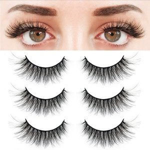 3 Pairs False Eyelashes Synthetic Fiber Material| 3D Mink Lashes| Natural Round Look| Reusable| 100% Handmade & Cruelty-Free
