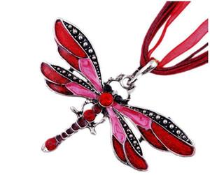 Collier en argent Dragonfly Déclaration Colliers Pendentifs Vintage corde chaîne collier femmes Accessoires