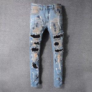 Afligido novos 2020 Mens Jeans Ripped Skinny Jeans Mens Yuxury Designer Jeans FaLight Azul Fit soltas de algodão designer de shion pantser