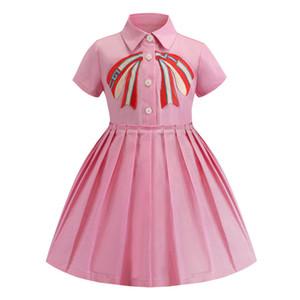 Розничные платья для девочек 2019 вышитые отворотом с коротким рукавом хлопка плиссированные юбки платье детская дизайнерская одежда детская бутик одежды