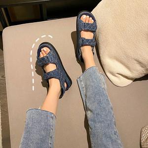 Denim Creepers Costurar Lettices Muffins Sandálias Mulheres Hookloop Open Toe Casual Roma Sandalias Jeans Sneakers Sandale Plataforma Sapatos