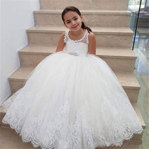 Weiß Tüll Blumenmädchen Kleider für Hochzeit SpitzeApplique bodenlangen Mädchen-Festzug-Kleider ärmelKinderGeburtstags-Abendkleid