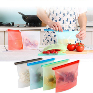 500ML многоразового силикон еда Свежей сумка Обертывание холодильник для хранения продуктов Контейнеров Холодильник сумки Кухня Цветных Zip Сумок LJJA3133