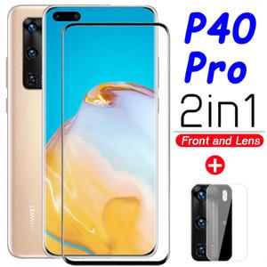 Vidrio para huawei p40 pro protector de pantalla 5g huwai p40pro vidrio templado p 40 40pro 3D armadura lente de la Cámara película protectora 2in1 9 H