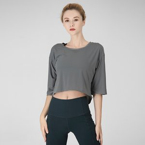 Lu-2 Yoga Giysileri Bayan Gömlek Kısa Yarım Kol Yaz Spor Hızlı Kuru Büyük Spor Spor tişört beyaz pantolon kız elbise büyük beden