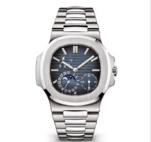 Nueva alta calidad negocio militar reloj de acero inoxidable de la fase lunar mecánico automático de los hombres de lujo 5712 / 1A - NAUTILUS para hombre relojes reloj