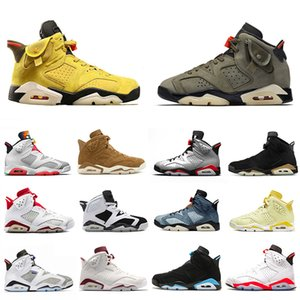 Nike AIR JORDAN Retro 6 shoes 2019 DMP 6 PSG 6s Hommes Chaussures de basketball UNC Tinker Noir Gatorade Infrarouge Alternate Blé Sport Bleu Oregon Hommes Baskets de sport US 7-13