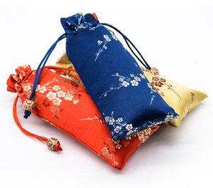 Pocket Packaging uzatmak Patchwork Cherry çiçekleri İpli Hediye Çanta Tarak Takı Kolye Depolama Kılıfı İpek brokar Craft