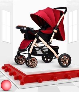 El cochecito de bebé puede sentarse y acostarse con un espacio ligero y plegable muy espacioso, con cuatro ruedas de absorción de impactos, seguridad, bebé, bebé recién nacido, de cuatro vatios