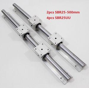 2pcs SBR25-500mm guide linéaire / rail + 4pcs SBR25UU paliers linéaires pour pièces de routeur cnc