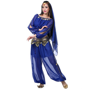 New Oriental dance costumes danza del vientre belly dance set bollywood style beaded pants cheap belly dancing clothing
