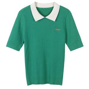 Nuevo 2018 de primavera y verano forman la camisa de polo de la solapa de bordado libélula todo-fósforo de la corto manga asimétrica de la camiseta de la blusa