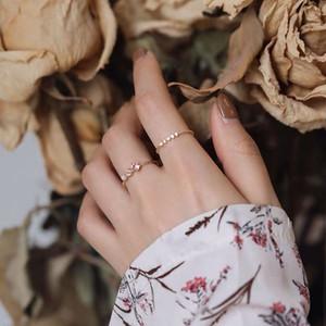 Pequenas e requintado doce Diamante-Set Abrir duas peças Índice Student Anel Feminino Girlfriends Anel Personalidade All-jogo dedo anelar