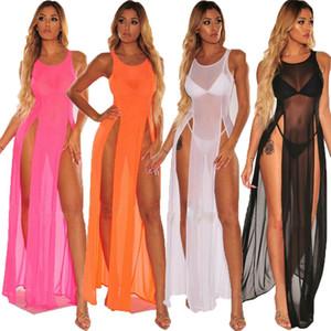 Frauen-Bikini-Badeanzug Abdeckung Rock Beach Wear Bloße lange Kleid-Sommer-Badeanzug Urlaub One Schürze Schal Netz