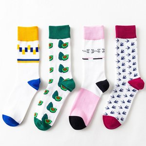 2018 marca de moda Geometria listrado abacate loucos felizes Inverno mulheres engraçadas meias masculinas de algodão grosso Masculino peúgas mornas Feminino