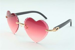 Best-selling Direct sales high-quality new heart shaped cutting lens sunglasses 8300687, black natural wooden temples size: 58-18-135 mm