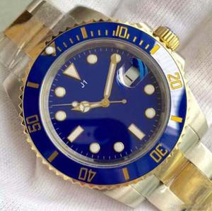 Klassische G2813 Automatik-Uhrwerk Sapphire Luminous Blau Dial 40MM Datum Herrenuhren Drehbare Lünette aus Keramik Ton zwei Stahl-Armbanduhren