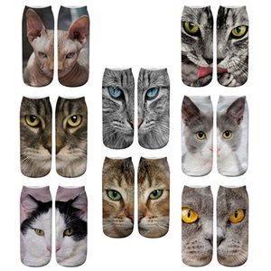 High Quality Design 3D Printed Mens Womens Christmas Socks Funny Creative Pet Cat Face Unisex Cotton Socks Harajuku Children Low Ankle Socks