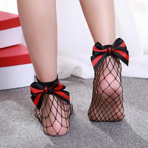 Hirigin Tatlı Japon Kadınlar Kız Big Bow Çizgili Nefes Çorap Fishnet Çorap İnce Bölüm Hollow Çorap