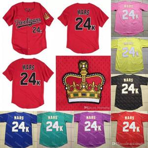 Sıcak Bruno Mars 24 K Hooligans Beyzbol Forması Film Beyzbol Formalar Kırmızı Beyaz Erkekler Kadınlar Gençlik Tüm Dikişli Beyzbol Formalar