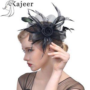 2020 Women Fashion Feather Mesh Elastic Net Fascinators Hat Hair Clip Headwear For Caps Wedding Masquerade Formal Hat