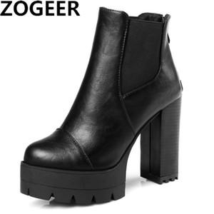 ZOGEER Hot 2018 Sexy Frauen Stiefel Mode Plattform punk Platz high heels Schwarz Stiefeletten Für Frau Marke Design Damen Schuhe