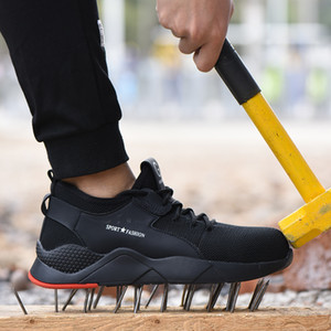 Men's Fashion Outdoor Steel Toe Protective Anti-smashing Work Shoes Men Puncture Proof Safety Shoes Anti-slip CJ191205