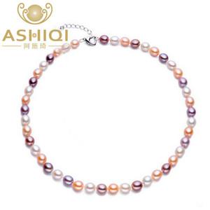 Ashiqi collana di perle naturali perle d'acqua dolce per le donne con 7-8mm colore regalo di perle gioielli in argento 925 chiusura J190718