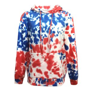 Womens Designers Tie Dye Casual Hoodies Loose Pullover Contrast Hat Sweatshirts Fashion with Packet Womens Clothing