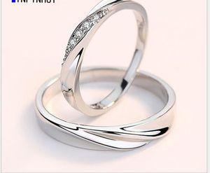 زوجان افتتاح حلقة الفضة النقية الزوج خاتم الذكور النسخة الكورية محاكاة بسيطة خاتم الماس الإناث