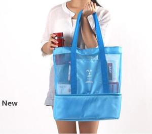 Portátiles almuerzo al aire libre bolsas dobles de la cubierta aislante térmica caja de almuerzo del refrigerador de la bolsa de asas Bento bolsa de viaje de almacenamiento de picnic Bolsas GGA3242
