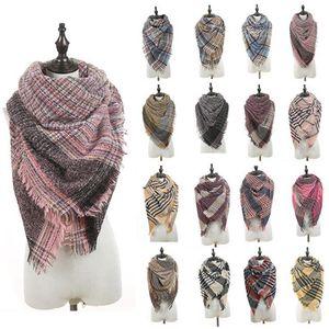 Triangle Plaid Scarf 40 Colors 135*135*190cm Women Winter Cashmere Pashmina Knitted Warm Tassel Scarves Wraps LJJO7149