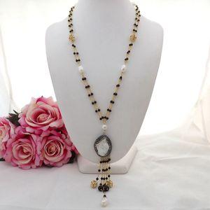 GE082902 Collana con pendente in oro bianco con perla Keshi, collana di perle in onice bianca da 25 cm