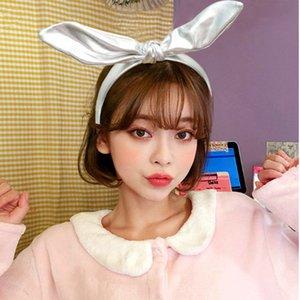 2 color Girls Rabbit ears Bow hair accessories pure color headband kid hair band girl headdress hoop Hair Sticks head hoop GJJ330