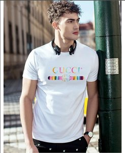 18ss verano desgaste de la calle de París de moda de los hombres europeos de moda de algodón de alta calidad de la camiseta de los hombres ocasionales envío gratis S-5XL
