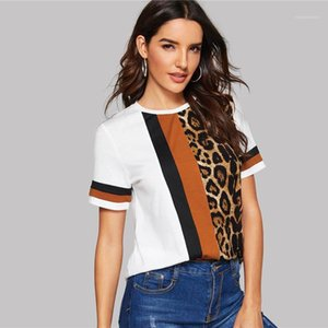 Signore maglietta Crew manica corta Tees donne rivestite modo di usura cacual femminile vestiti estivo a righe Leopard