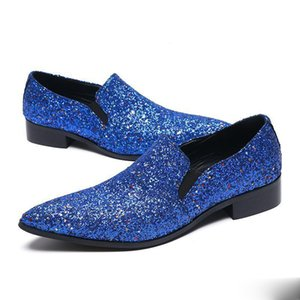 2020 Shinny Blue Gliiter Men's Slip On Dress male paty prom shoes Handmade Flats Loafer Shoes Men Wedding Party Shoes Plus Size