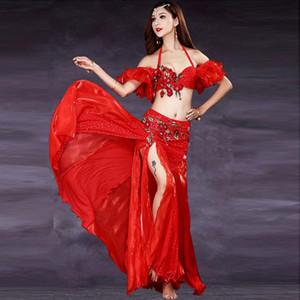 Сцена носить танцевальное платье живота набор женщин Топы юбка псевдоним цветочные танцы Bellydance Costume Performance 0054