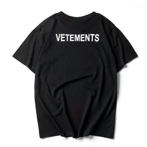 2017 NUOVO TOP SS16 estate vetements uomini stampa della lettera nero manica corta maglietta hiphop PERSONALE Fashion Casual Cotton Tee S-XL1