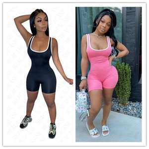 New Summer Women Clothes Tank Top Jumpsuits Brand letters full print Rompers Sleeveless Tank Vest Skinny Bodysuits Overalls Hot Sale NK62906