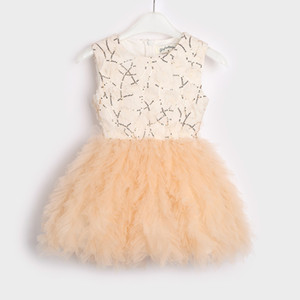 New Baby Girls Tutu Dress Kids Sleeveless Christening Tulle Sequined Wedding Party Dancing Gown Children Clothing