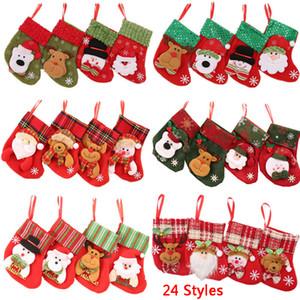 24 disegni borsa calza regalo di Natale Candy Bags Albero di Natale Babbo Natale Natale posate Bag Casa della decorazione del partito calzino DBC DH2437