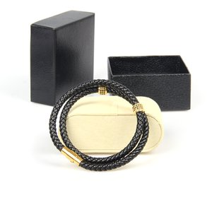 Mens Bracelets Stainless Steel Black Genuine Leather Bracelet Wristband Bangle Punk Style Fashion Jewlery with Black Cz Cylinder Beads